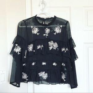 Zara Chiffon Embroidered Ruffle Blouse